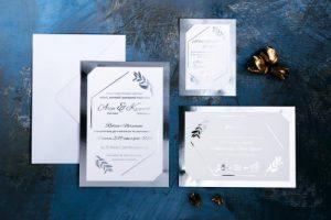 srebrne zaproszenie na ślub